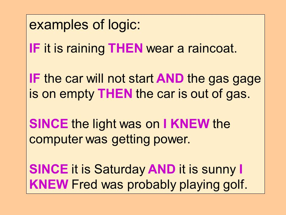 examples of logic: IF it is raining THEN wear a raincoat.