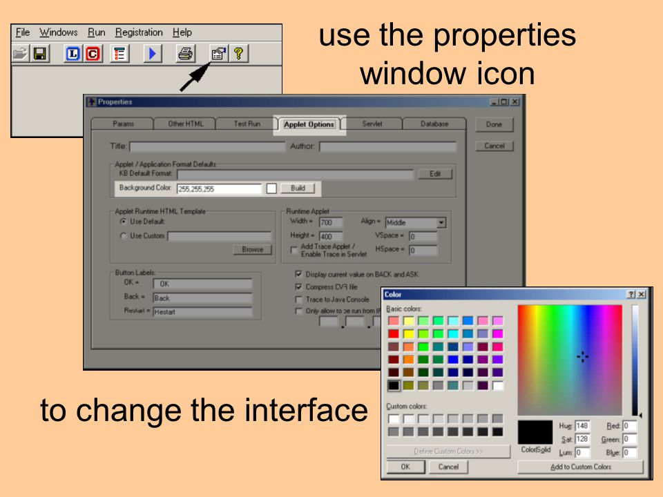 use the properties window icon to change the interface