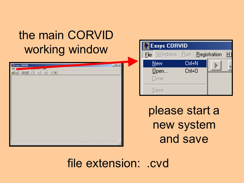 the main CORVID working window please start a new system and save file extension:.cvd