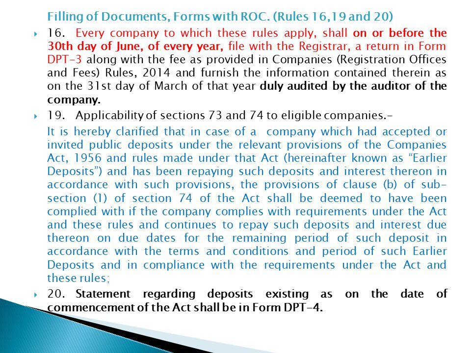 Filling of Documents, Forms with ROC. (Rules 16,19 and 20)  16.