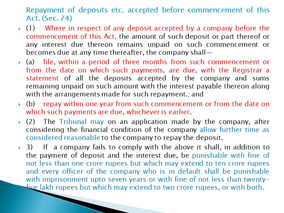 Repayment of deposits etc. accepted before commencement of this Act.