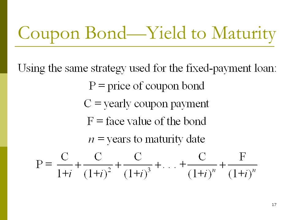 17 Coupon Bond—Yield to Maturity