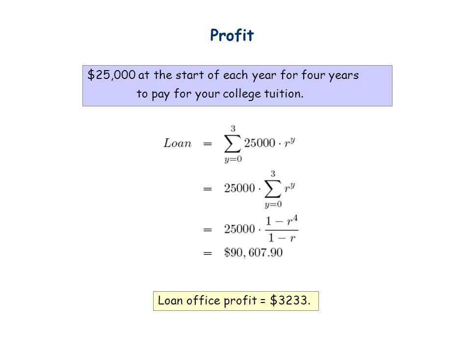 Profit $25,000 at the start of each year for four years to pay for your college tuition.
