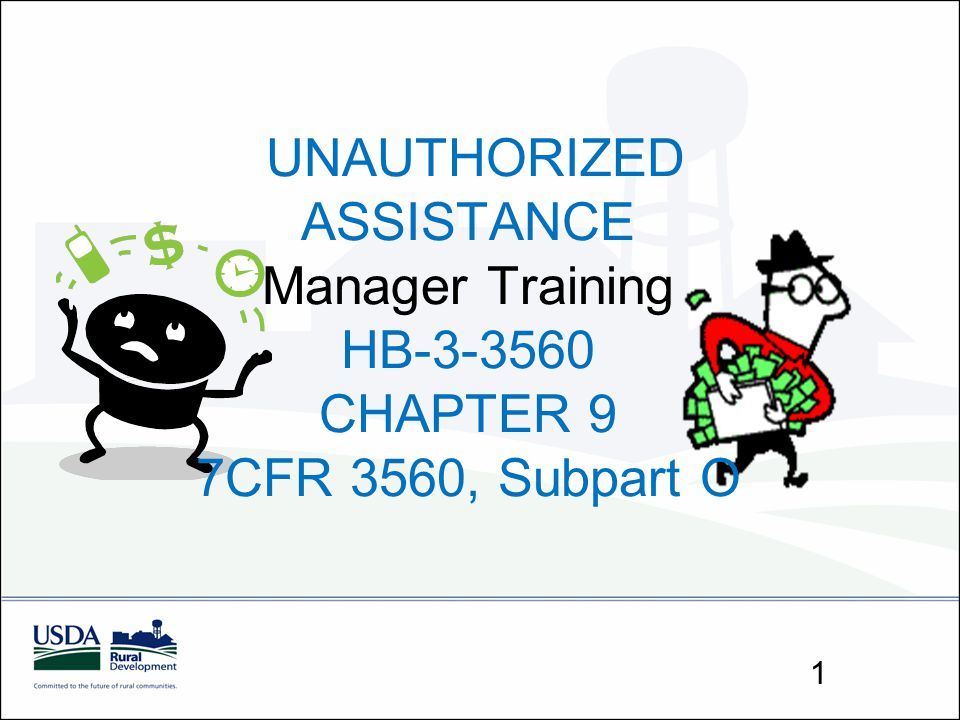 UNAUTHORIZED ASSISTANCE Manager Training HB-3-3560 CHAPTER 9 7CFR 3560, Subpart O 1