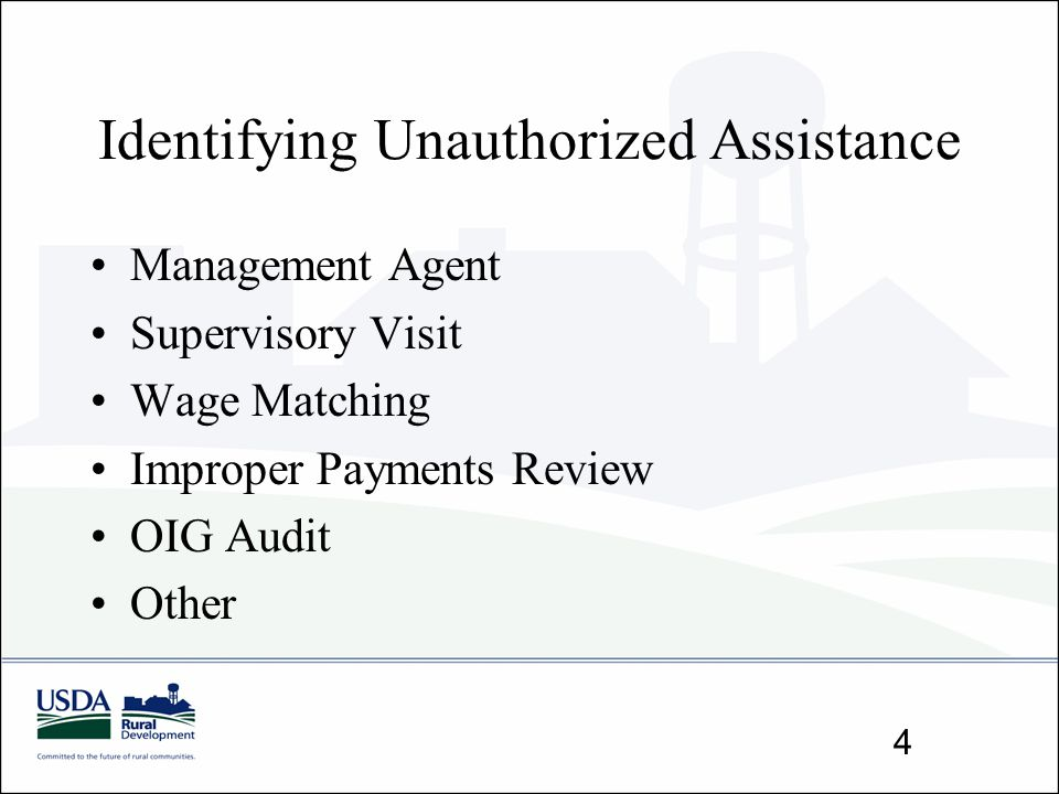 Identifying Unauthorized Assistance Management Agent Supervisory Visit Wage Matching Improper Payments Review OIG Audit Other 4