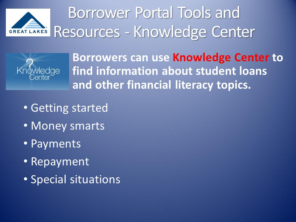Borrowers can use Knowledge Center to find information about student loans and other financial literacy topics.