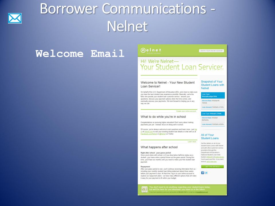 Welcome Email Borrower Communications - Nelnet