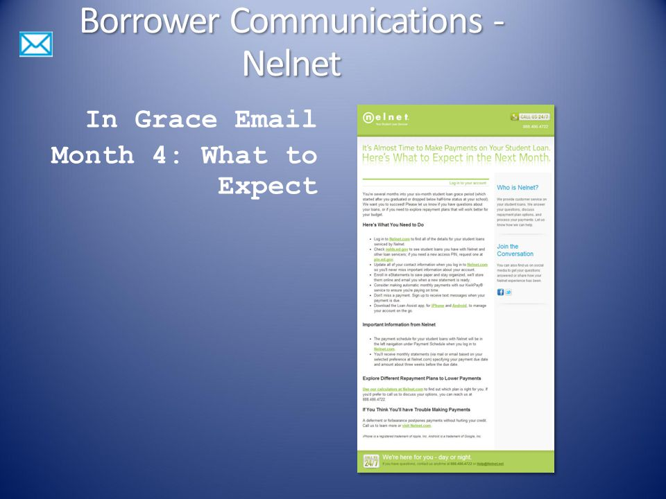 In Grace Email Month 4: What to Expect Borrower Communications - Nelnet