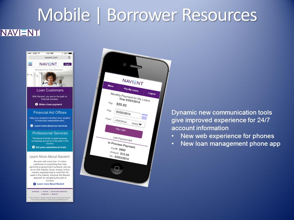 Mobile | Borrower Resources Pay Loan Dynamic new communication tools give improved experience for 24/7 account information New web experience for phones New loan management phone app