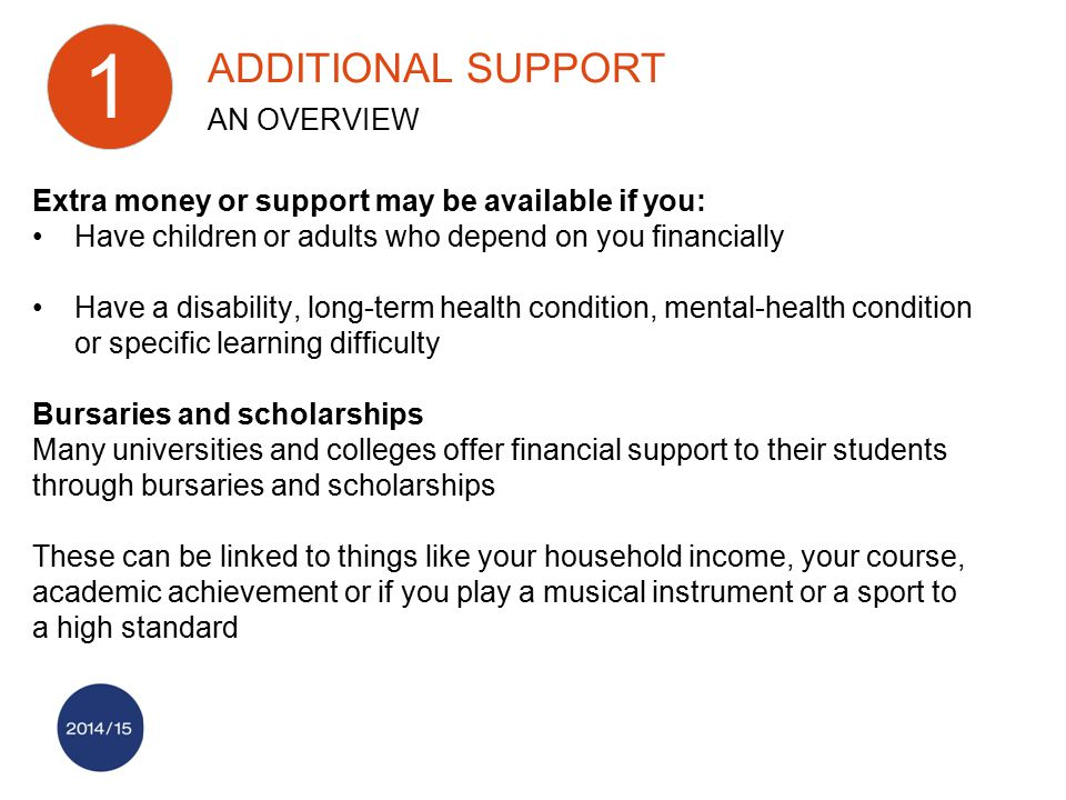 Extra money or support may be available if you: Have children or adults who depend on you financially Have a disability, long-term health condition, m