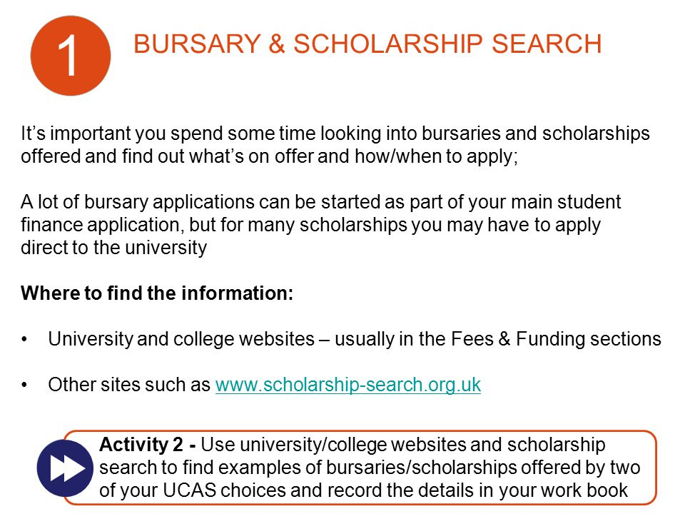 It's important you spend some time looking into bursaries and scholarships offered and find out what's on offer and how/when to apply; A lot of bursar