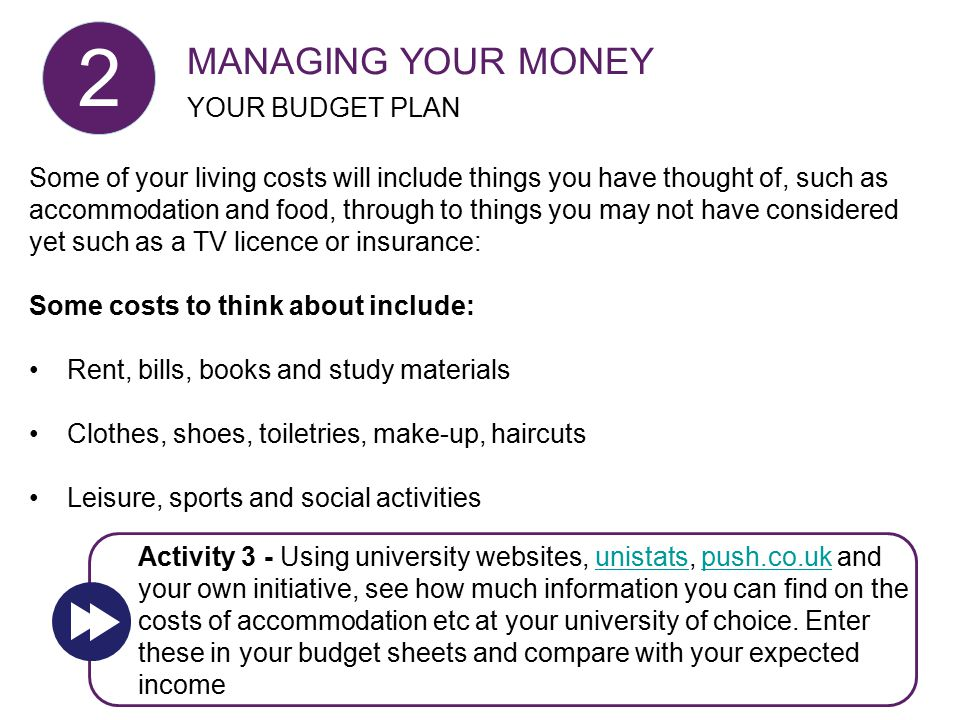 Some of your living costs will include things you have thought of, such as accommodation and food, through to things you may not have considered yet s