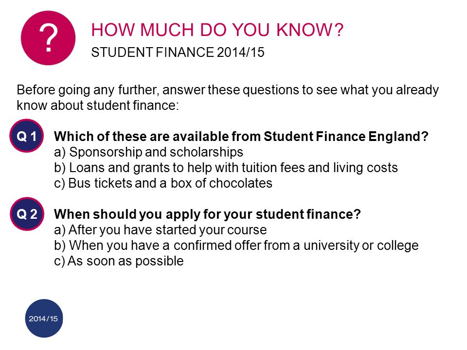 HOW MUCH DO YOU KNOW? STUDENT FINANCE 2014/15 Before going any further, answer these questions to see what you already know about student finance: Q 1