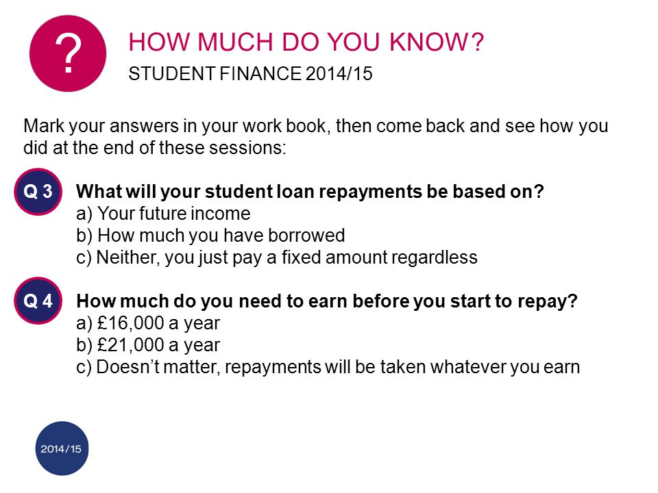 Mark your answers in your work book, then come back and see how you did at the end of these sessions: Q 3What will your student loan repayments be bas