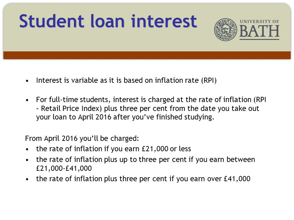Interest is variable as it is based on inflation rate (RPI) For full-time students, interest is charged at the rate of inflation (RPI – Retail Price Index) plus three per cent from the date you take out your loan to April 2016 after you've finished studying.