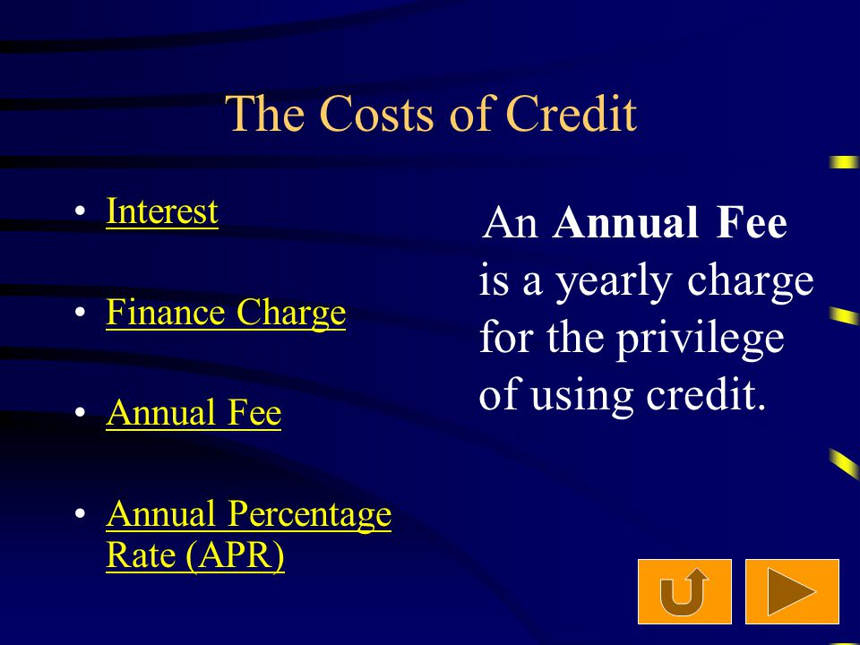 The Costs of Credit Interest Finance Charge Annual Fee Annual Percentage Rate (APR)Annual Percentage Rate (APR) An Annual Fee is a yearly charge for the privilege of using credit.