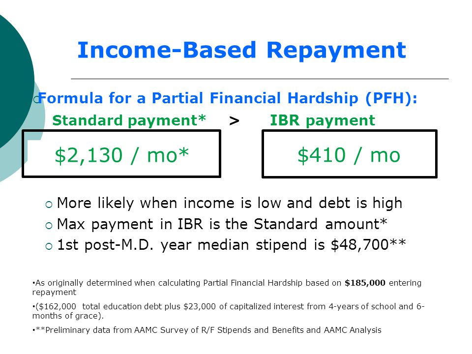 Income-Based Repayment  Formula for a Partial Financial Hardship (PFH): Standard payment* > IBR payment  More likely when income is low and debt is high  Max payment in IBR is the Standard amount*  1st post-M.D.