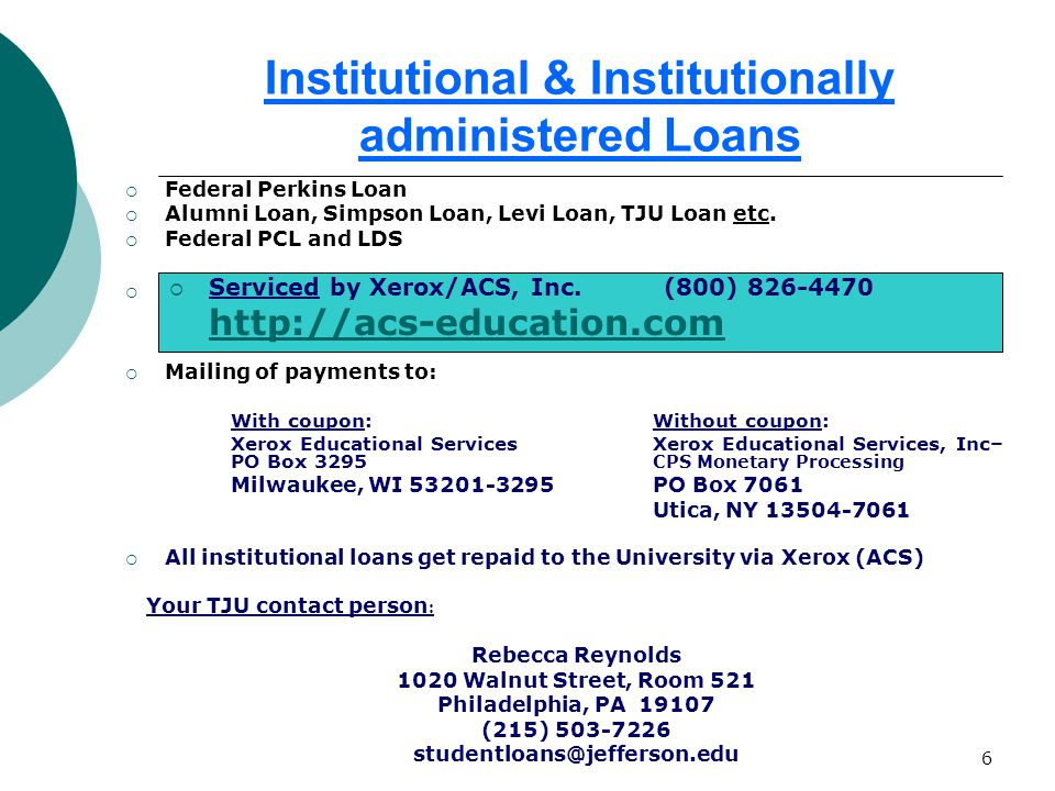 6 Institutional & Institutionally administered Loans  Federal Perkins Loan  Alumni Loan, Simpson Loan, Levi Loan, TJU Loan etc.
