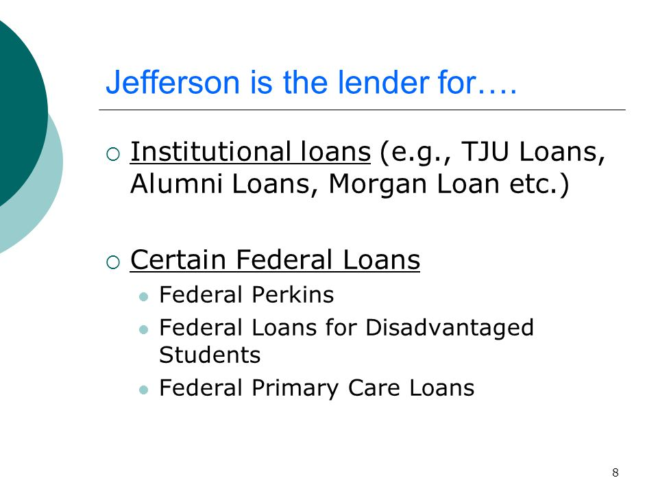 39 Consolidation Fast Facts  Combining many federal loans into one loan, one set of new terms, with one servicer – NEW you can choose the servicer (note: MyFedLoan is the only servicer for PSLF)  Interest rate is determined by calculating the weighted average (+1/8 point) of all loans being consolidated – interest rate is fixed.