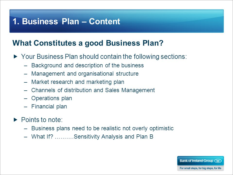 1. Business Plan – Content What Constitutes a good Business Plan.