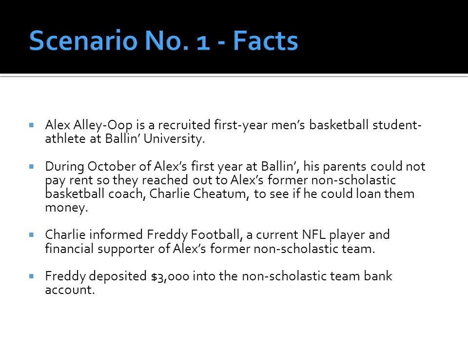  Alex Alley-Oop is a recruited first-year men's basketball student- athlete at Ballin' University.