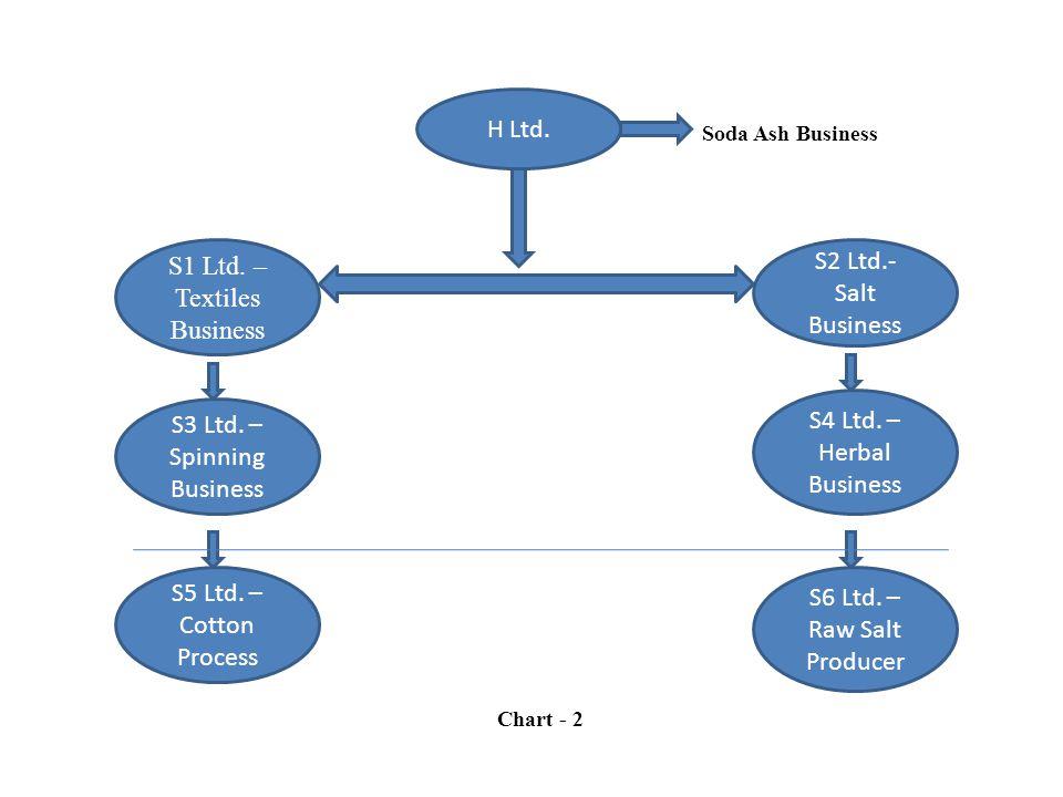 H Ltd. S1 Ltd. – Textiles Business S2 Ltd.- Salt Business S3 Ltd. – Spinning Business S5 Ltd. – Cotton Process S4 Ltd. – Herbal Business S6 Ltd. – Raw