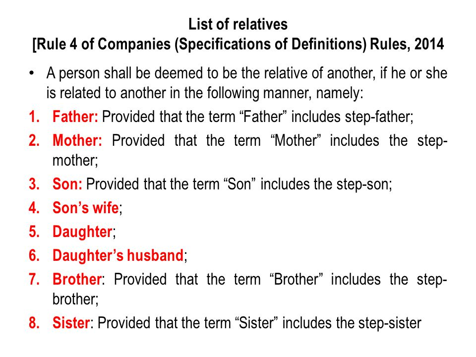 A person shall be deemed to be the relative of another, if he or she is related to another in the following manner, namely: 1. Father: Provided that t