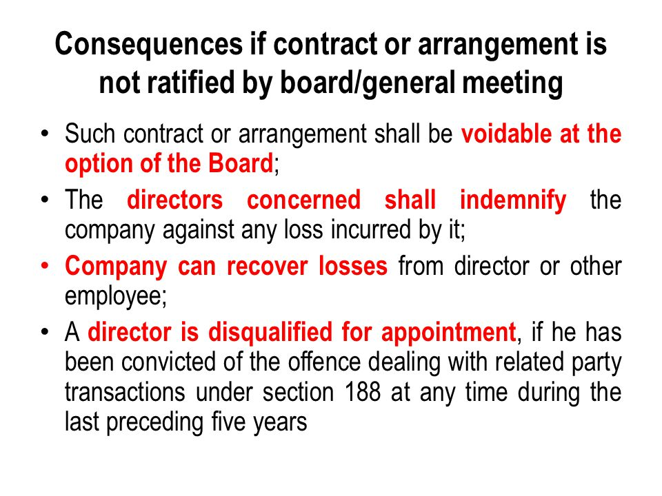 Consequences if contract or arrangement is not ratified by board/general meeting Such contract or arrangement shall be voidable at the option of the B