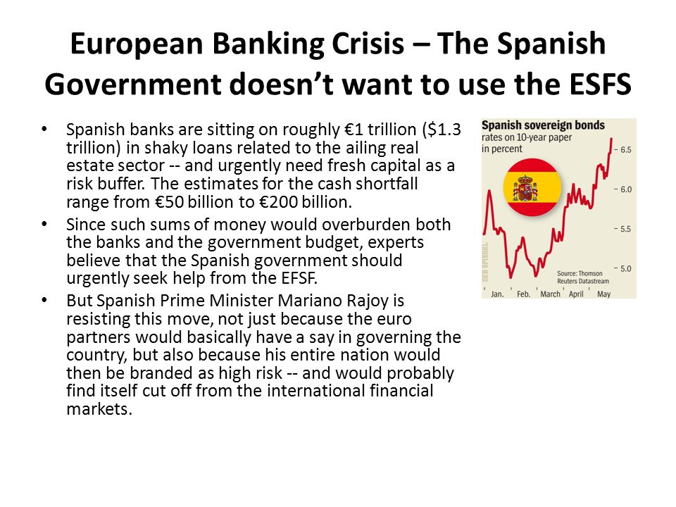 European Banking Crisis – The Spanish Government doesn't want to use the ESFS Spanish banks are sitting on roughly €1 trillion ($1.3 trillion) in shaky loans related to the ailing real estate sector -- and urgently need fresh capital as a risk buffer.