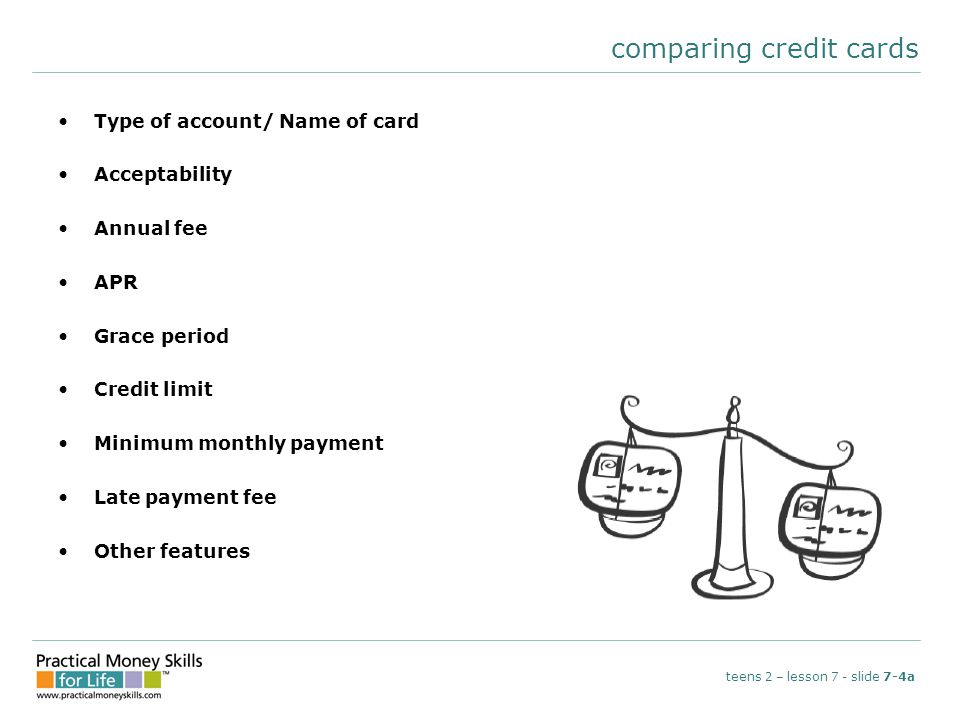 comparing credit cards Type of account/ Name of card Acceptability Annual fee APR Grace period Credit limit Minimum monthly payment Late payment fee O