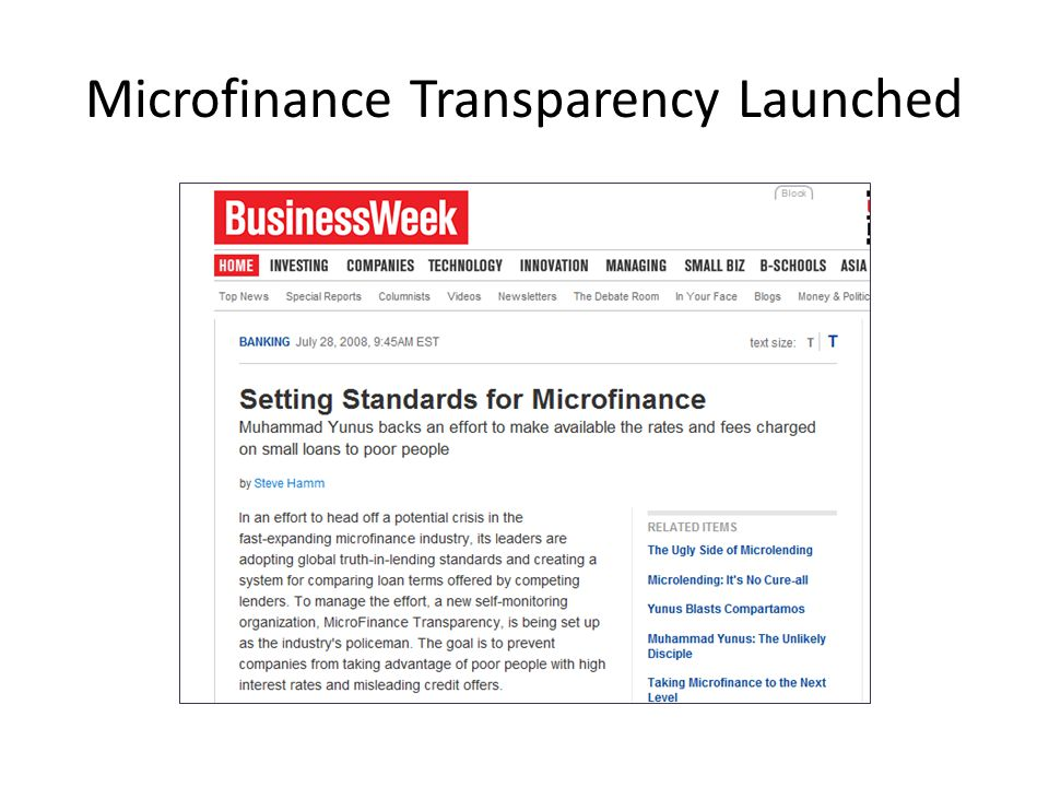 Microfinance Transparency Launched