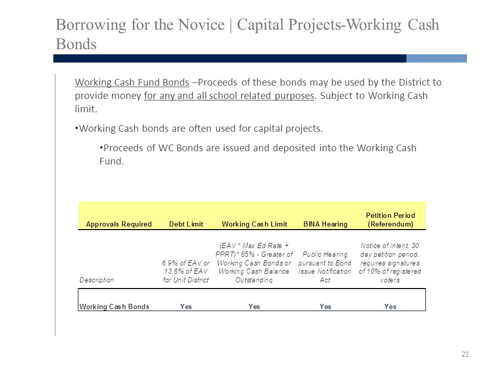 Borrowing for the Novice | Capital Projects-Working Cash Bonds Working Cash Fund Bonds –Proceeds of these bonds may be used by the District to provide money for any and all school related purposes.
