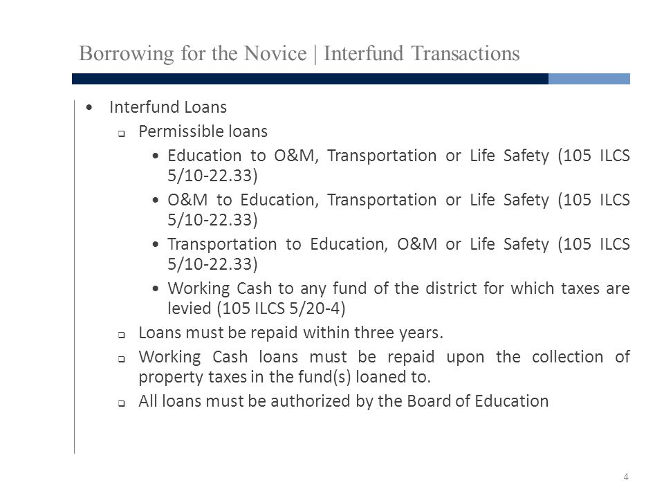 Borrowing for the Novice | Interfund Transactions Interfund Loans  Permissible loans Education to O&M, Transportation or Life Safety (105 ILCS 5/10-22.33) O&M to Education, Transportation or Life Safety (105 ILCS 5/10-22.33) Transportation to Education, O&M or Life Safety (105 ILCS 5/10-22.33) Working Cash to any fund of the district for which taxes are levied (105 ILCS 5/20-4)  Loans must be repaid within three years.
