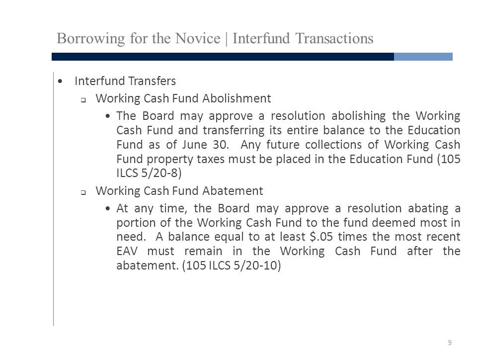 Borrowing for the Novice | Interfund Transactions Interfund Transfers  Working Cash Fund Abolishment The Board may approve a resolution abolishing th