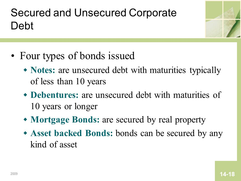 2009 14-18 Secured and Unsecured Corporate Debt Four types of bonds issued  Notes: are unsecured debt with maturities typically of less than 10 years  Debentures: are unsecured debt with maturities of 10 years or longer  Mortgage Bonds: are secured by real property  Asset backed Bonds: bonds can be secured by any kind of asset