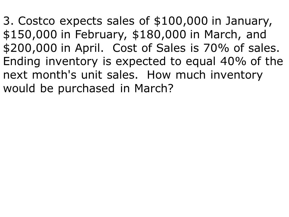 3. Costco expects sales of $100,000 in January, $150,000 in February, $180,000 in March, and $200,000 in April. Cost of Sales is 70% of sales. Ending