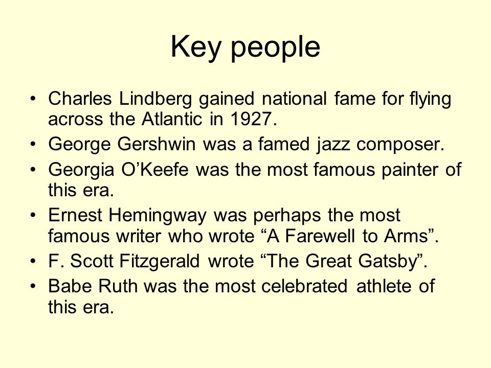 Key people Charles Lindberg gained national fame for flying across the Atlantic in 1927.