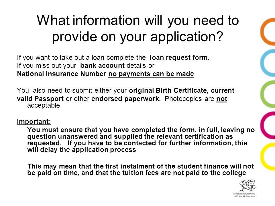 What information will you need to provide on your application.