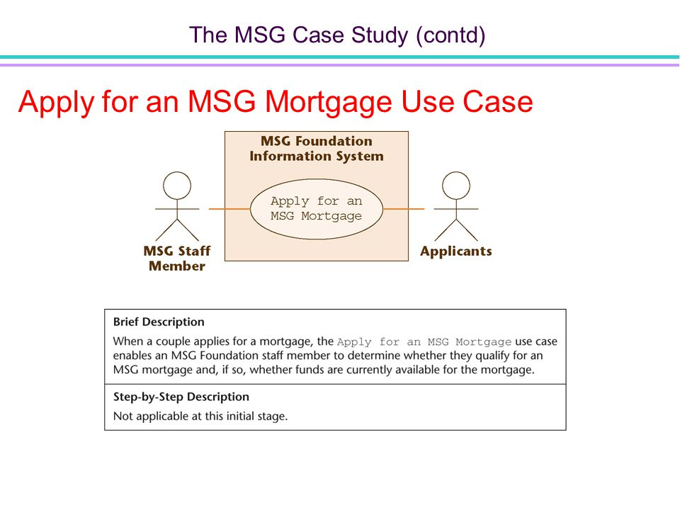 The MSG Case Study (contd) Apply for an MSG Mortgage Use Case Figure 10.5 Figure 10.4