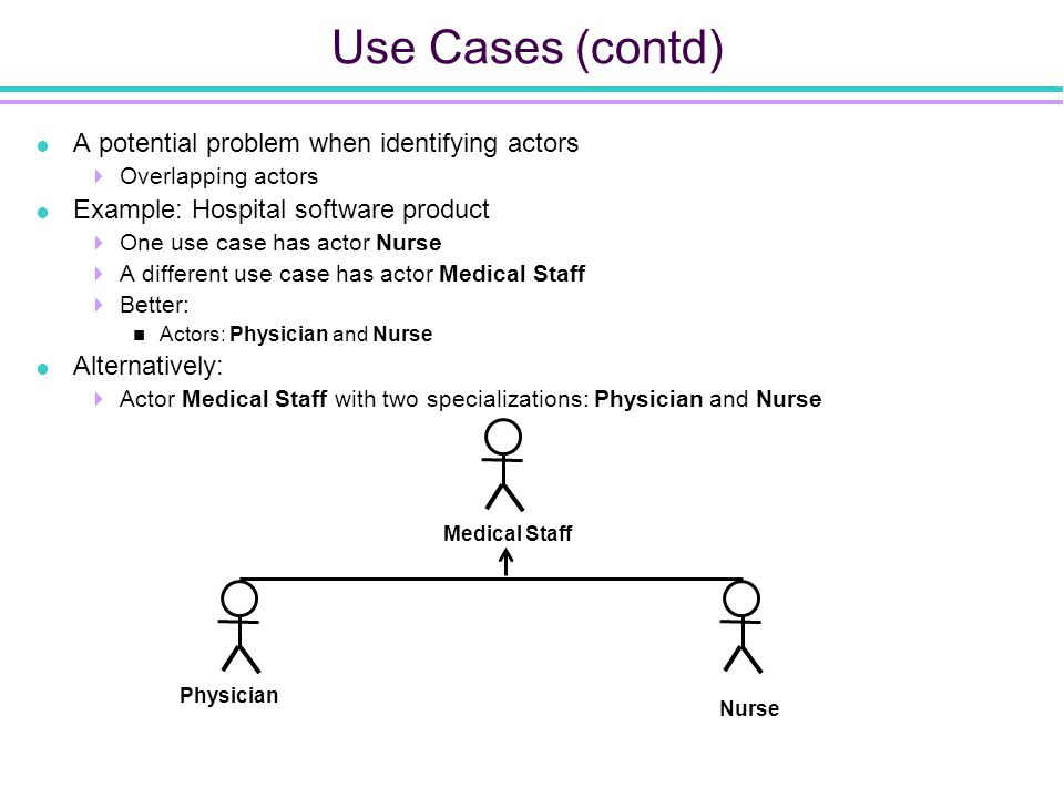 Use Cases (contd)  A potential problem when identifying actors  Overlapping actors  Example: Hospital software product  One use case has actor Nurse  A different use case has actor Medical Staff  Better: Actors: Physician and Nurse  Alternatively:  Actor Medical Staff with two specializations: Physician and Nurse Medical Staff Nurse Physician