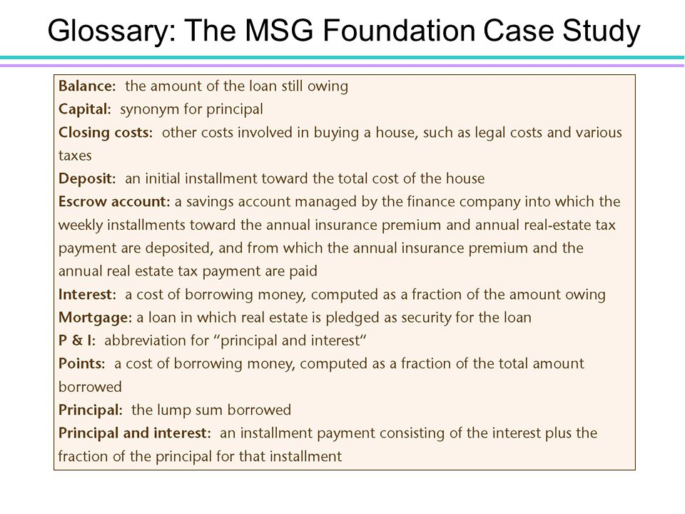 Glossary: The MSG Foundation Case Study Figure 10.3