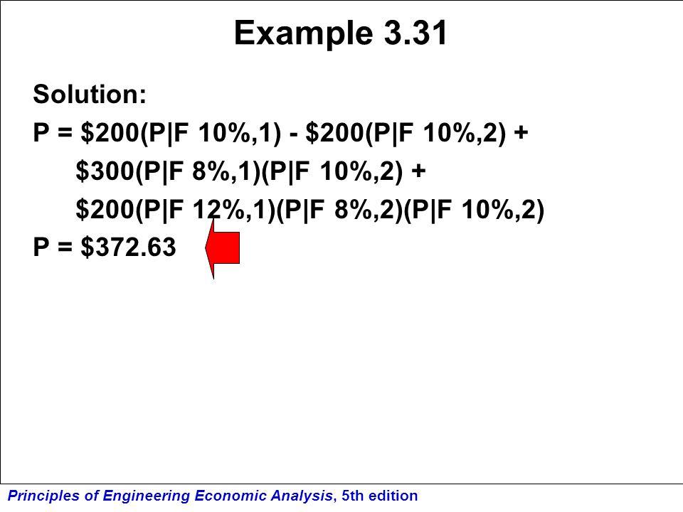 Principles of Engineering Economic Analysis, 5th edition Example 3.31 Solution: P = $200(P|F 10%,1) - $200(P|F 10%,2) + $300(P|F 8%,1)(P|F 10%,2) + $2