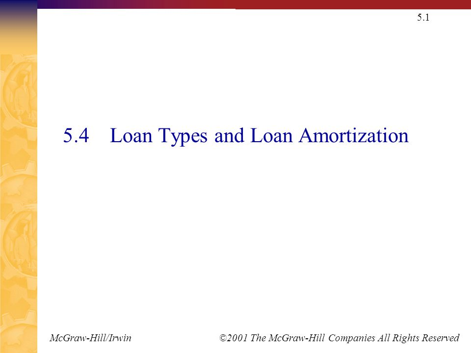 McGraw-Hill/Irwin ©2001 The McGraw-Hill Companies All Rights Reserved 5.1 5.4 Loan Types and Loan Amortization