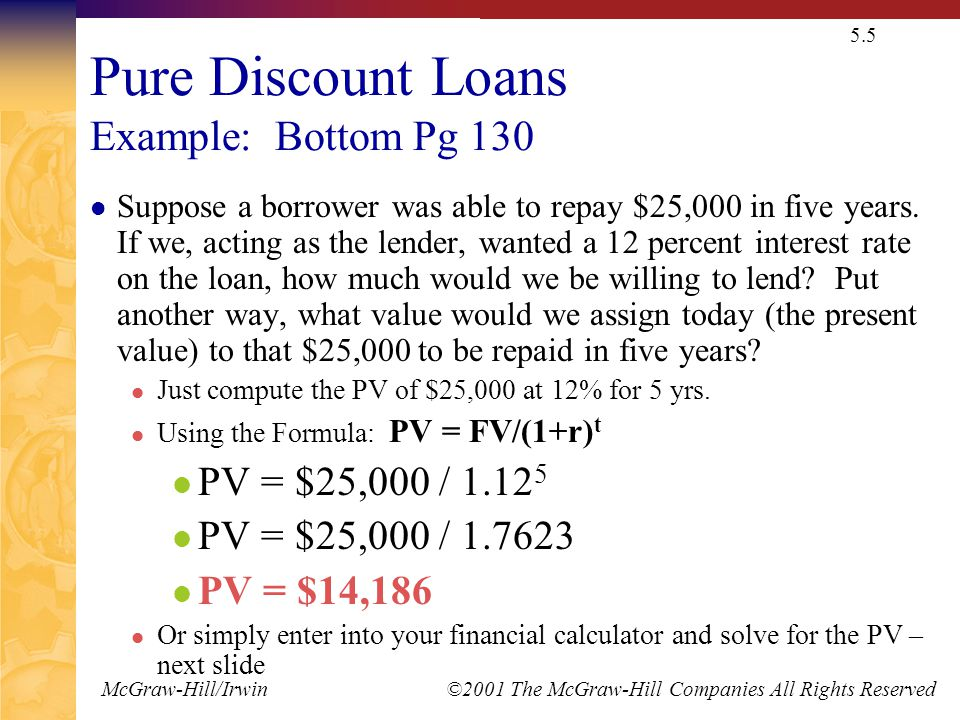 McGraw-Hill/Irwin ©2001 The McGraw-Hill Companies All Rights Reserved 5.5 Pure Discount Loans Example: Bottom Pg 130 Suppose a borrower was able to repay $25,000 in five years.