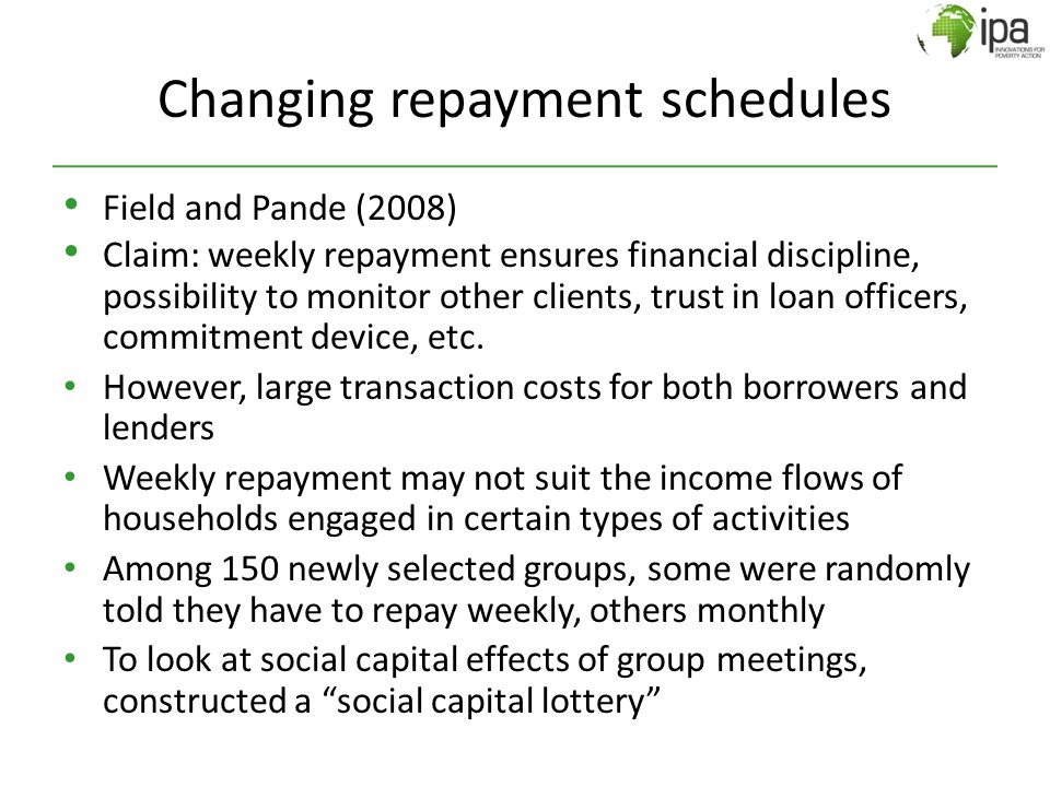 Changing repayment schedules Field and Pande (2008) Claim: weekly repayment ensures financial discipline, possibility to monitor other clients, trust