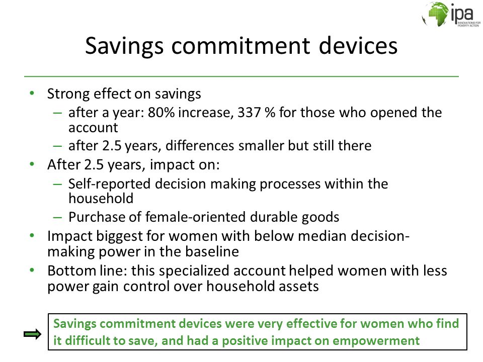 Savings commitment devices Strong effect on savings – after a year: 80% increase, 337 % for those who opened the account – after 2.5 years, difference