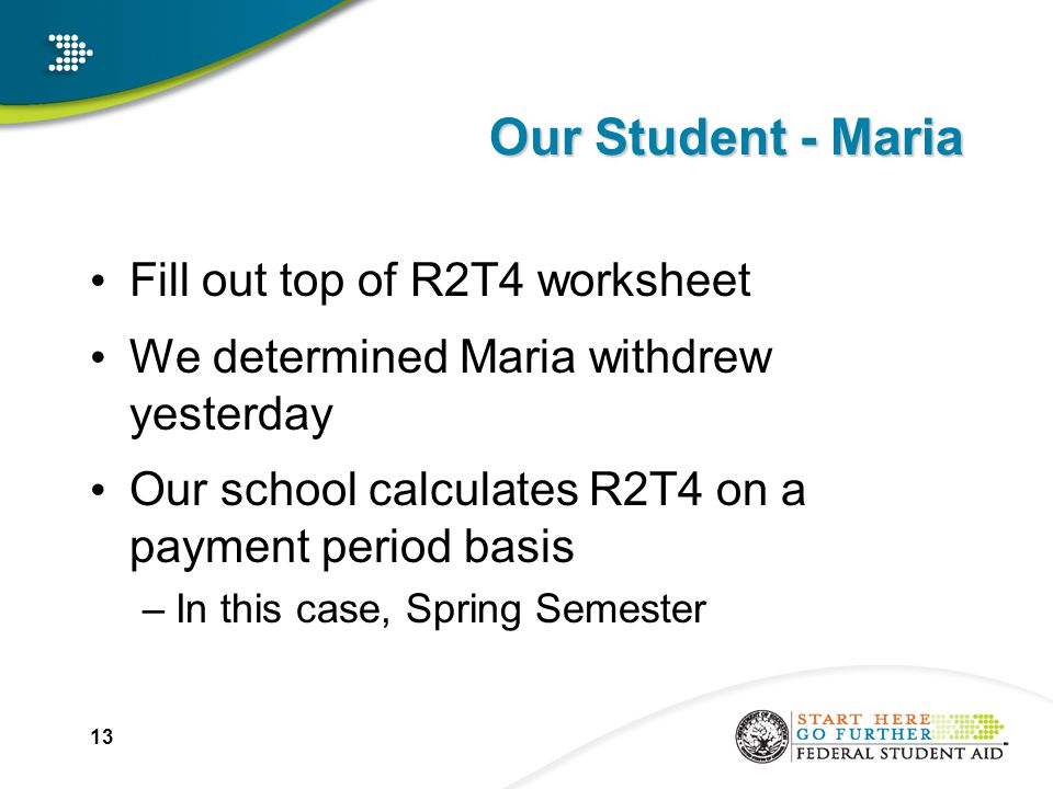 Our Student - Maria Fill out top of R2T4 worksheet We determined Maria withdrew yesterday Our school calculates R2T4 on a payment period basis –In this case, Spring Semester 13