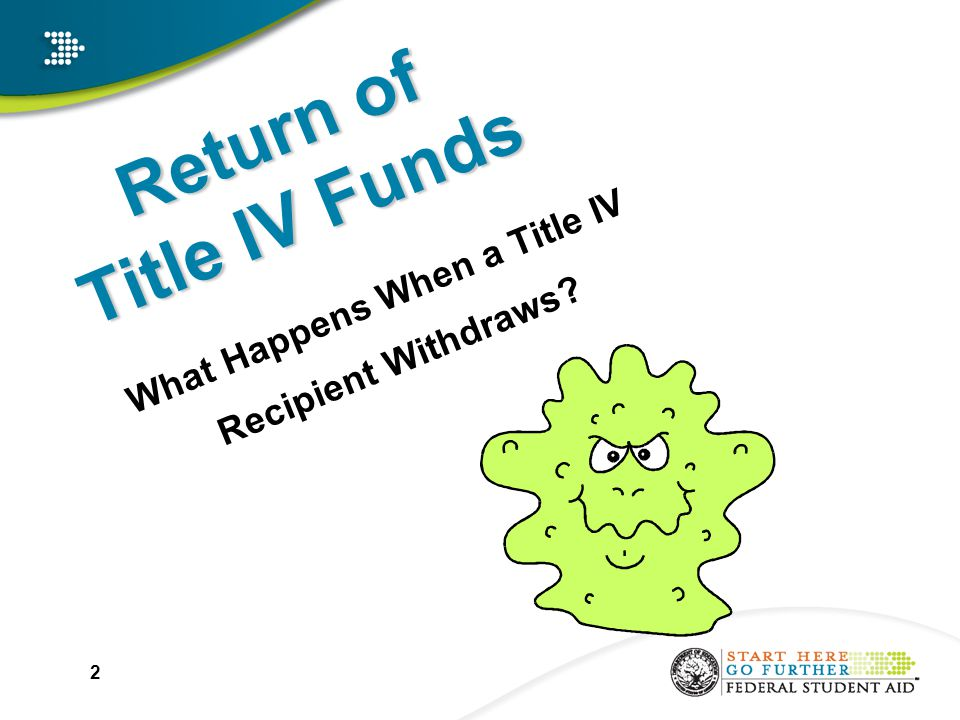 2 Return of Title IV Funds What Happens When a Title IV Recipient Withdraws