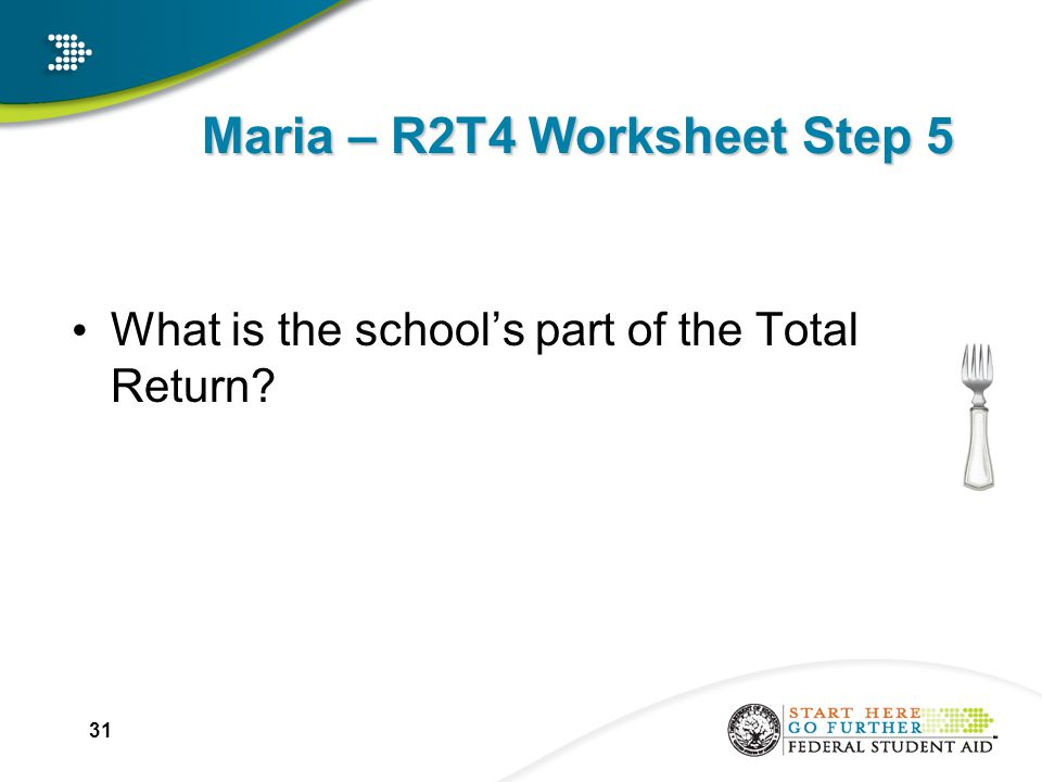 Maria – R2T4 Worksheet Step 5 What is the school's part of the Total Return 31