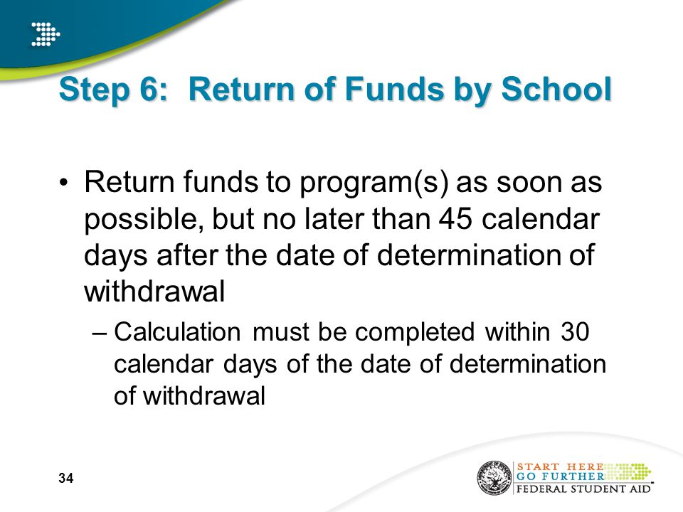 34 Step 6: Return of Funds by School Return funds to program(s) as soon as possible, but no later than 45 calendar days after the date of determination of withdrawal –Calculation must be completed within 30 calendar days of the date of determination of withdrawal
